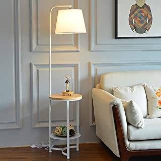 Space Saver Lámpara de pie Moderna con Mesa de Madera, Tela Blanca y Negra, Sombra de Tambor for Sala de Estar, Dormitorio de Lectura, Oficina (Color : White)