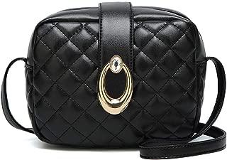 Fashion Women's Solid Color PU (Polyurethane) Leather Small Square Bag Shoulder Bag Handbags Messenger Bag Crossbody Bag (Color : Black)