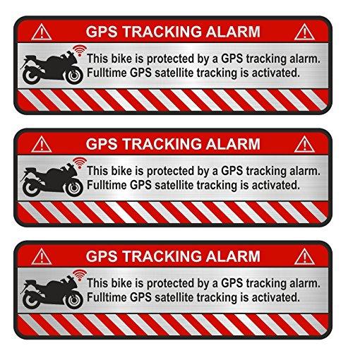 Finest-Folia 9X GPS sticker fiets motorfiets auto alarm waarschuwing anti-diefstal sticker tracker beveiligd R056 Motorrad Aluminium geslepen zilver.