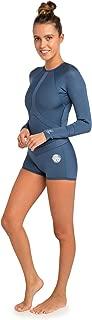 Rip Curl Womens Madi 1mm Long Sleeve Boyleg Shorty Wetsuit White Blue - Easy Stretch - Back Zip Entry - 100% E4 Neoprene
