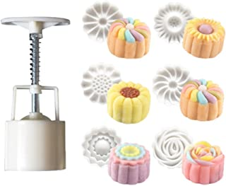 DEALIND 7pcs/Set Flowers Moon Cake Mould 1 Barrel + 6 Flowers Stamps DIY Baking Tool
