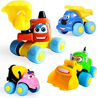 ToyerBee Toy Cars, Construction Trucks (4 Pack) Mini Assorted Diecast Vehicles, Trucks for Toddlers, Babies, Boys, Girls, Kids & Children (Set of 4: Dumper, Excavator, Bulldozer, Cement Mixer)