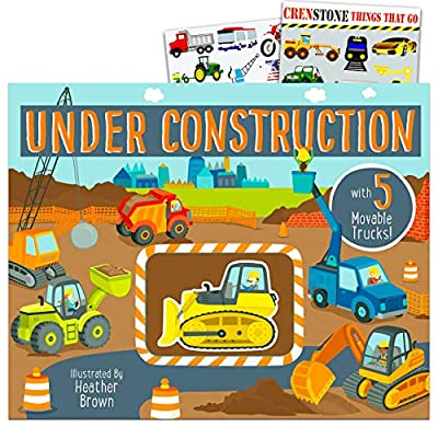 Under Construction Book for Toddlers Set ~ Construction Vehicles Book with Movable Trucks and Bonus Stickers (Tractors, Bulldozers, Trucks, and More)