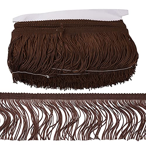 Borla de encaje con flecos de 9,9 cm de ancho de fibra de poliéster con flecos para ropa, escenario, accesorios de disfraz latino vestido de boda DIY lámpara de decoración (marrón coco)