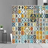 XCBN Cortina de Ducha Impermeable Mandala Flor Impresa Cortinas de baño Bohemio hogar decoración de baño Tela de Pantalla A3 180x200cm