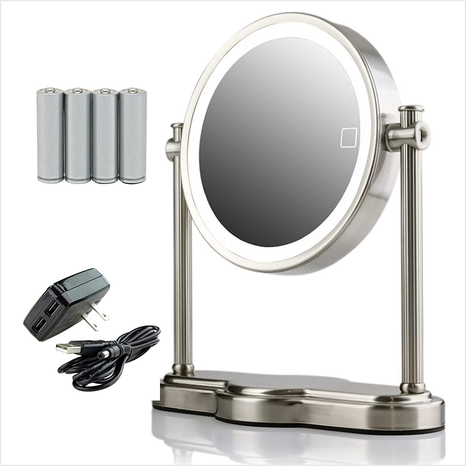 Ovente Lighted Magnifying New arrival Mirror 8'' 5X Top Max 48% OFF 1X Double Table