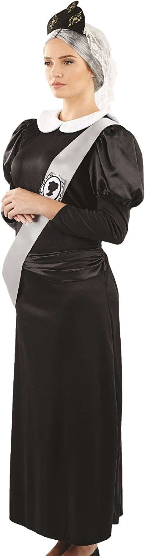Ladies Queen Victoria Historical TV Book Film Regal Royal Fancy Dress Costume Outfit UK 8-26 Plus Size (UK 24-26) Black