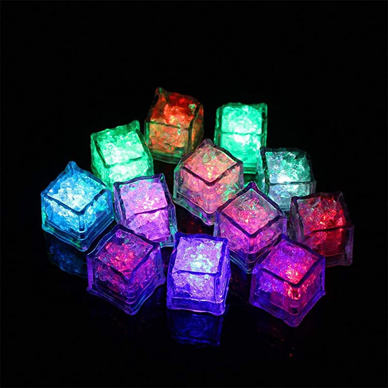 OVERMAL Toy Gift Idea 12 Pcs Party Decorative LED Ice Cubes Light Multicolor Liquid Sensor Bar Party