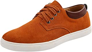 Men's Solid Lace up Sport Shoes, Males Classic Suede Flat Bottom Sneakers Casual Shoes