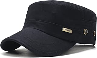 ChezAbbey Solid Brim Flat Top Cadet Caps Adjustable Corps Military Flat Top Hats with Breathable Holes Beside