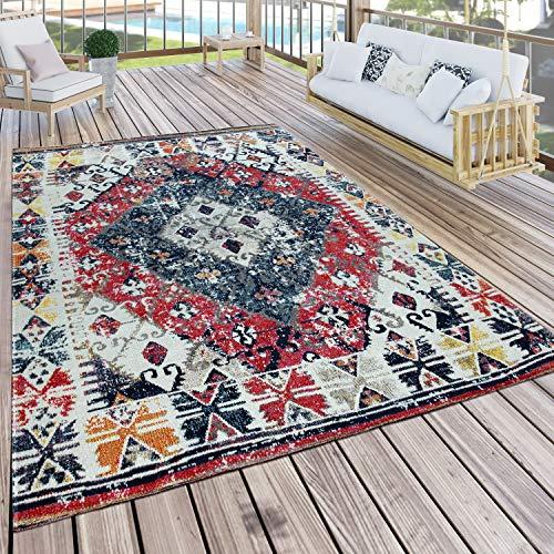 Paco Home In- & Outdoor Teppich Modern Orient Muster Terrassen Teppich Bunt, Grösse:120x170 cm