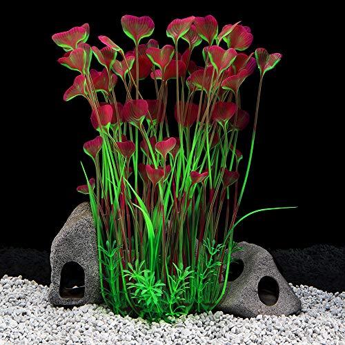 QUMY Large Aquarium Plants Artificial Plastic Fish Tank Plants Decoration Ornament for All Fish (B-Red)