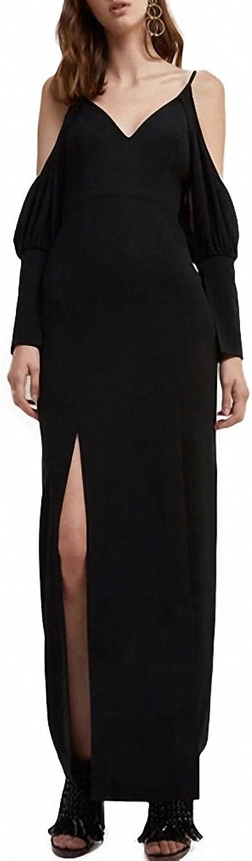 Womens Dress Sexy Cold Shoulder Lantern Sleeve Hollow Out Back Split Zipper