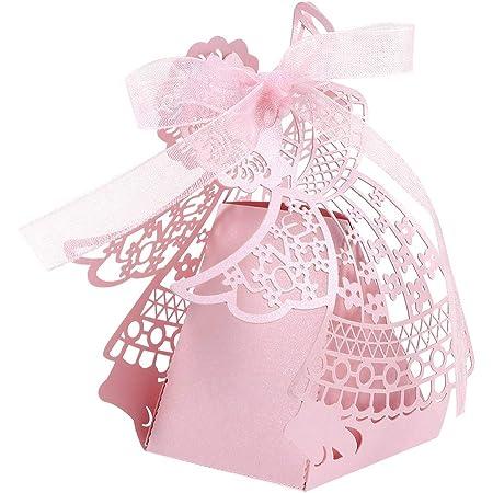 VORCOOL Lot de 50 boîtes à dragées en papier pour mariage Motif dessin animé Rose
