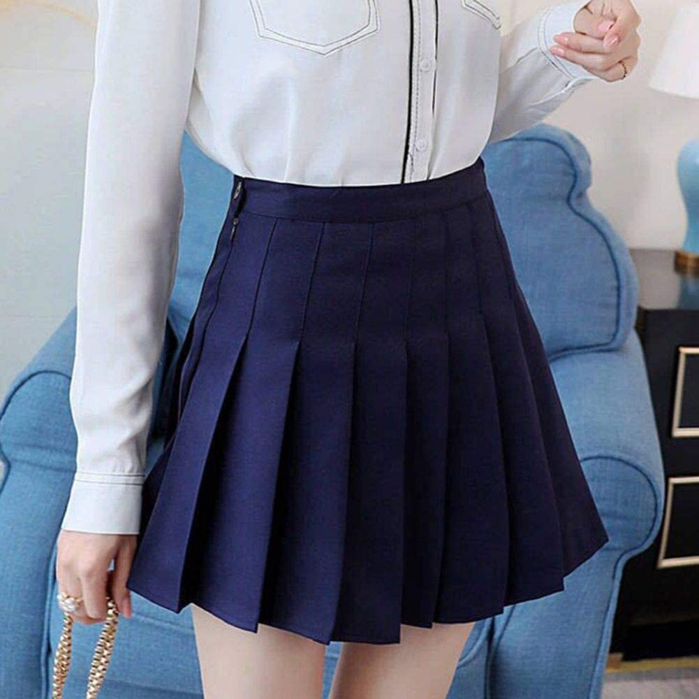 JFYZLT Women High Waist Pleated Skirts Girls Tennis School White/Black Mini Skirt Uniform Female Loose Casual Short Bottoms