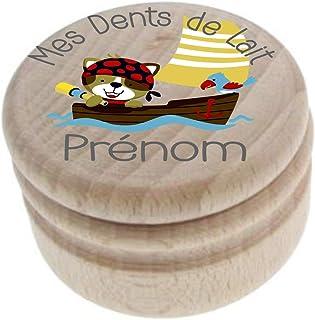 Boite à Dents de Lait en bois - Fabrication française – Personnalisée avec le prénom de l'enfant + Texte personnalisable –...