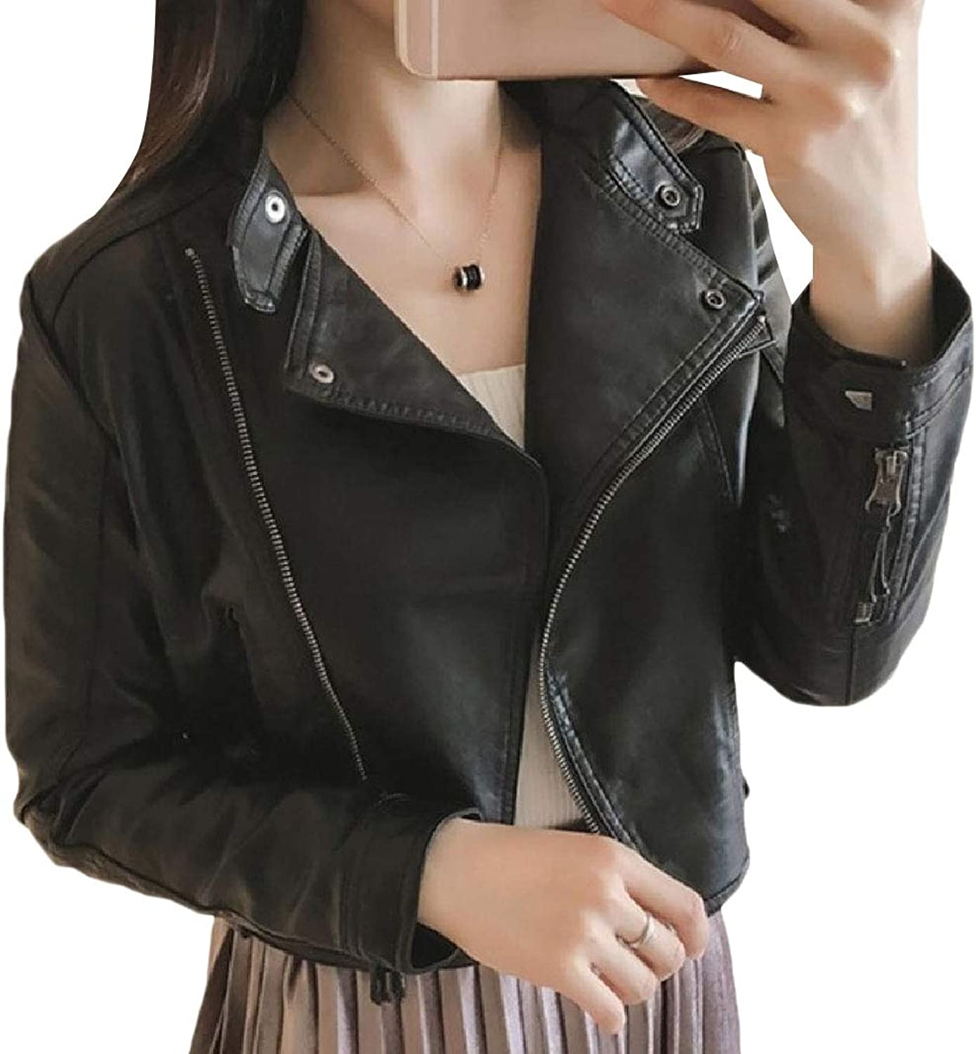 Coolhere Women's Short Coat Faux Leather PU Moto Casual Jackets