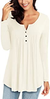 Women's Casual Long Sleeve Henley Shirt Button Tunic Tops Blouse