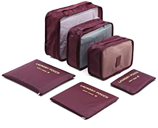 Kono Reisetasche Set 6 Teilig Koffer Organizer Taschen Kleidung Speicherbeutel für Schuhe Unterwäsche Kosmetik Wein