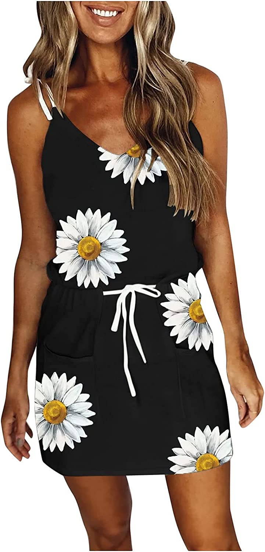 ESULOMP Women's Casual Sling Mini Dress Summer V Neck Sleeveless Stripe Splicing Belt Short Dresses Holiday Beach Dresses