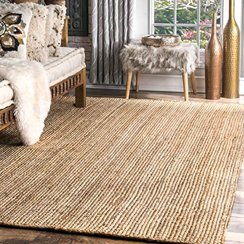 Mejor Safavieh Natural Fiber Collection NF447A Hand-woven Chunky Textured Jute Area Rug, 5' x 8' crítica 2020