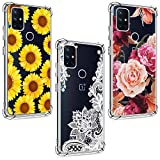 (3 Pack) for OnePlus Nord N10 5G Case, Shock-Absorption Anti-Scratch Crystal Clear Soft TPU Bumper Protective Phone Case Cover for OnePlus Nord N10 5G 2020, Purple Flower, Sun Flower, White Flower