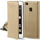 Moozy Funda para Huawei P9 Lite, Oro - Flip Cover Smart Magnética con Soporte y Cartera para Tarjetas