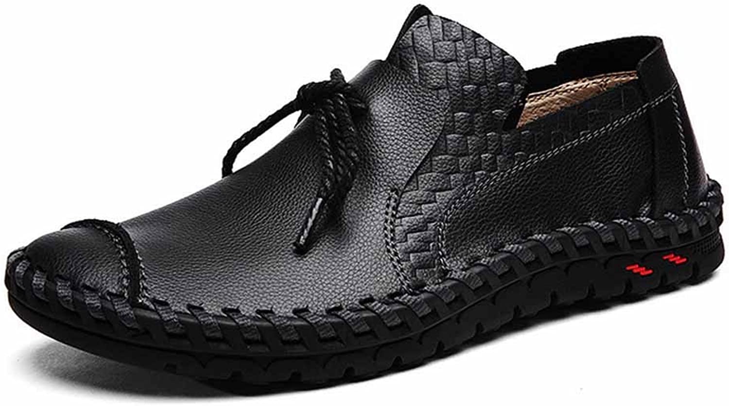 GLSHI Men Outdoor Casual shoes Fashion Handmade Leather Breathable Walking shoes Slip On British Driving shoes