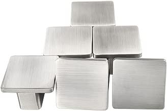 sourcingmap Set of 6 Modern Silver Metal Satin Finish Knob Furniture Door Cabinet Hardware Wardrobe Drawer Pull Handles Square Knobs #2