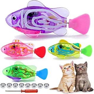 APORO Robotic Fish Toys for Cat/Dog, Automatic Swimming Fish with LED Light, Interactive Pet Toy to Stimulate Your Pet's Hunter Instincts, Swimming Bath Plastic Fish Toy with Child