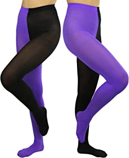 ToBeInStyle Women's Two Toned Jester Tights W/Reinforced Toe