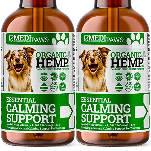 MediPaws® Dog Calming Hemp Oil For Dogs | Twin Pack (x2) | Natural Organic Hemp Oil Drops For Dogs | Omega 3 6 9 | Certified High Strength 50000mg