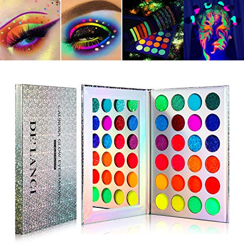 Neon Eyeshadow Palette Glow in the Dark, DE'LANCI Aurora Glow Eyeshadow Palette Stage, Halloween Makeup Kit UV Glow Blacklight Matte and Glitter Fluorescent Eye Shadows Pigment Luminous