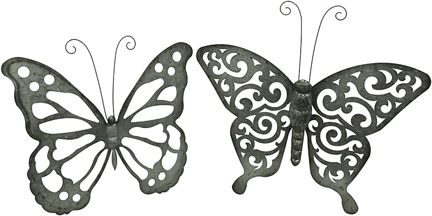 Zeckos Galvanized Finish Open Work Butterfly Set of 2 Metal Wall Hangings