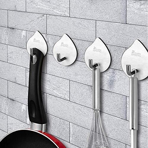 November Spring Kitchen Adhesive Hooks for Hanging Wall Towel Hooks Heavy Duty Stainless Steel Waterproof Hook Wall Hanger for Bathroom OfficeAdhesive Coat Key Hook Stick on Wall 4 Pack