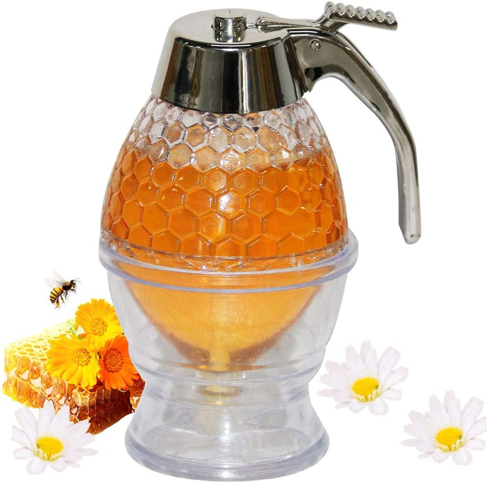 Syrup Honey Dispenser No Drip Baking Honey Jar With Stand, Sugar, Sauces, Salad Dressing Condiments Dispenser, 8-Ounce Capacity