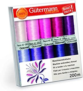Gutermann Rayon 40 Berry Blossom Machine Embroidery Thread Set 10 x 200m Reels