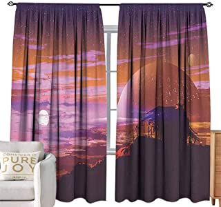 Andrea Sam Long Curtains Fantasy Art House Decor,Old Abandoned House on Planet with Galaxy Futuristic Design,Orange Magenta W120 x L84 inch,Blackout Curtains 2 Panels Set Room