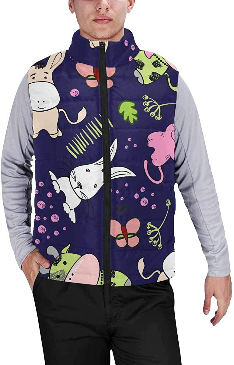 InterestPrint Men's Casual Sleeveless Coats with Personality Design Cute Animals in the Sky