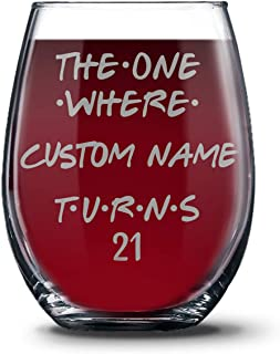 Personalized 21st Birthday 21 oz Stemless Glasses for Women and Men, Happy 21 Birthday Gift, 21 Years Birthday Wine Glass, 21st Birthday Party Decoration Gift Ideas For Her or Him