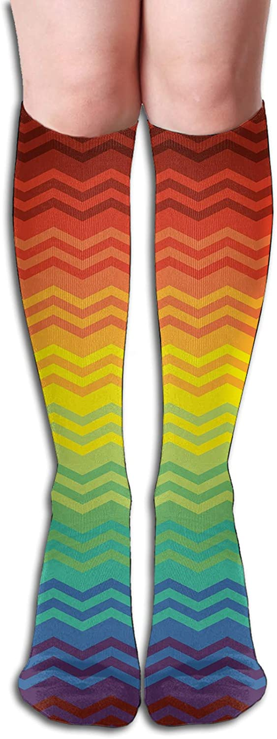 Compression High Socks-Mexican Inspired Colorful Chevron Zigzags Three Dimensional Pattern Tribal Culture Best for Running,Athletic,Hiking,Travel,Flight 8.5 x 50cm