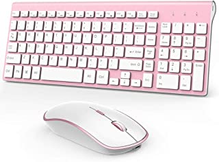 J JOYACCESS Rechargeable Wireless Keyboard Mouse, 2.4G Thin Wireless Computer Keyboard and Mouse, Ergonomic,Compact, Full ...