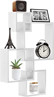 Sorbus Floating Shelf Square Interlocking Cubes with 4 Openings — Decorative Wall Shelves Hanging Display for Photo Frames, Collectibles, and Home Décor (White)