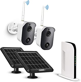 Wireless Security Camera System Solar Powered Battery Rechargeable Panel, Night Vision, Home Outdoor, 1080p, 2-Way Audio, ...