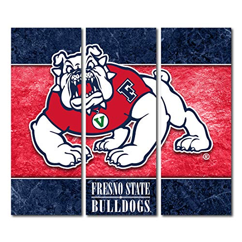 Fresno State Bulldogs Canvas Wall Art Triptych Double Border Design (48x54 Triptych) image