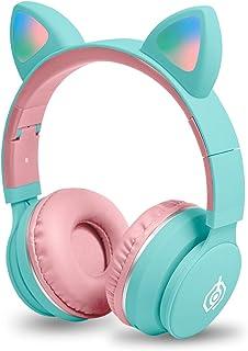 Kids Wireless Headphones Bluetooth Cat Ear Headphones with Flashing Light,SD Card Slot,FM,3.5 mm Audio Jack Wired On Ear H...