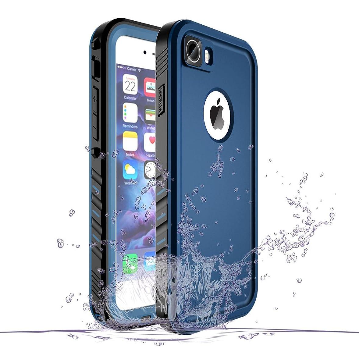 緑エール解決するSPORTLINK iPhone7 / iPhone8 防水ケース アイフォン7/8 対応 IP68規格 完全防水 耐衝撃 防塵 防雪 保護ケース 指紋認証対応 軽量 無線充電サポート 水泳 お風呂 防水ケース (ブルー)