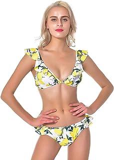 ohyeahgirl Women Ruffled Floral Print Bikini Set Cute 2 Piece Swimsuits