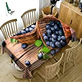 XXDD Mantel con patrón Vegetal Verde Cereza de Frutas 3D, paño Lavable a Prueba de Polvo, Mantel Rectangular para el hogar A5 140x140cm
