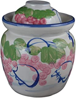 "Medium Porcelain Pickling Jar 3 Liter with 2 Lids Fermenting Pickling Kimchi Crock Jingdezhen Chinese Korean (pink, 12"")"